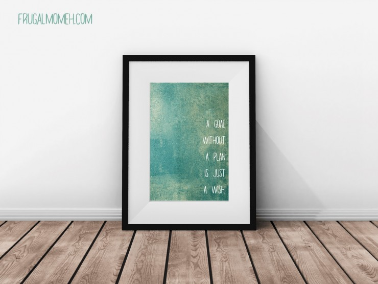 "Free Inspirational Printable Wall Art featuring a ""Goals"" motivational quote."