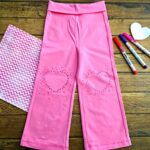 DIY Kids Heart Dot Knee Pad Pants
