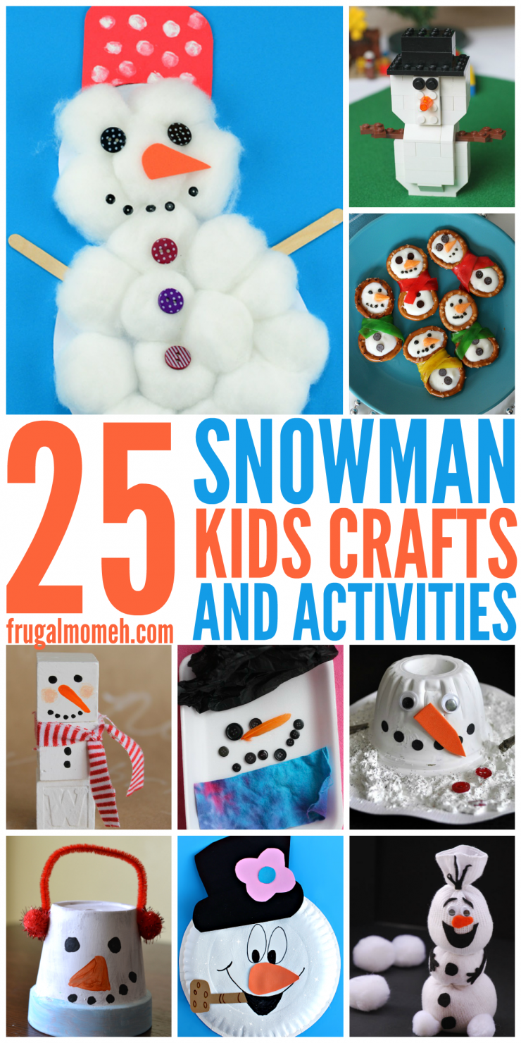 Snowman Crafts & Activities for Kids to keep children busy all winter long. Great Boredom busters for kids!