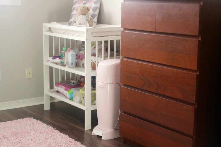 Playtex Diaper Genie Elite Diaper Pail System with Front Tilt Pail for Easy Diaper Disposal, Pink