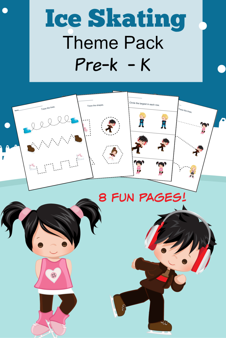 Free Printable Ice Skating Themed Pre-Kindergarten and Kindergarten Worksheets