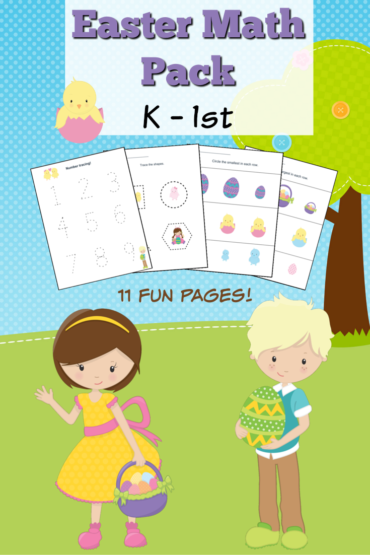 11 Fun Pages of Easter Themed Kindergarten Math Worksheets (for Kindergarten to Grade 1 aged kids!) You are going to love this FREE printable Easter Math Pack for kids in Kindergarten through to Grade 1.