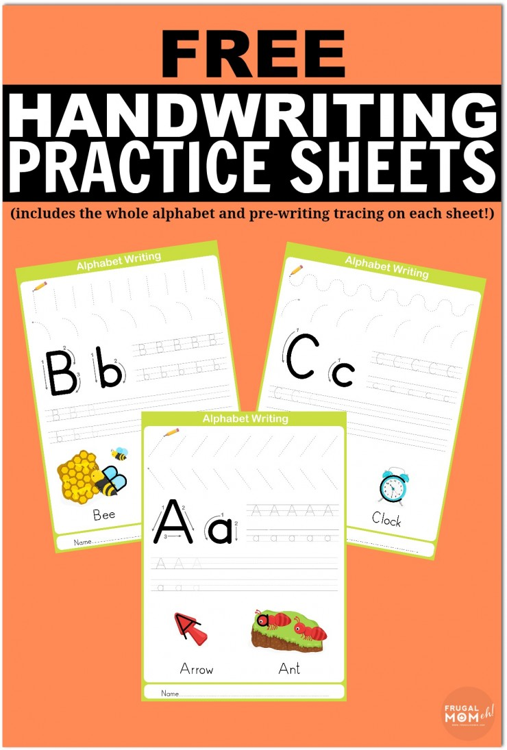 Free Printable Handwriting Worksheets including Pre-Writing Practice on each sheet.