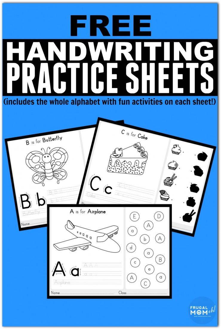 Free Handwriting Practice Worksheets from A-Z with Fun Activities Included on each printable sheet.