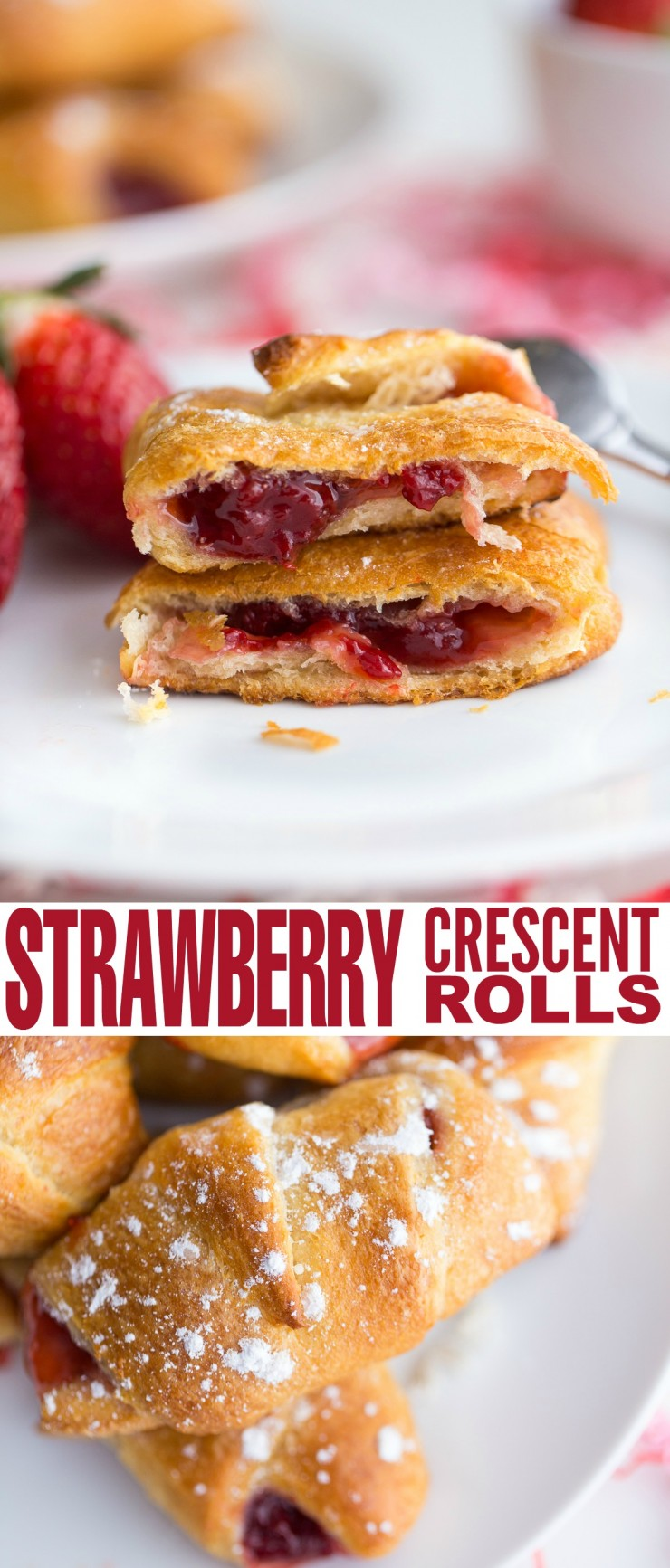 These strawberry crescent rolls are an easy dessert that can be made quickly enough to satisfy a sweet tooth or to serve unexpected company.