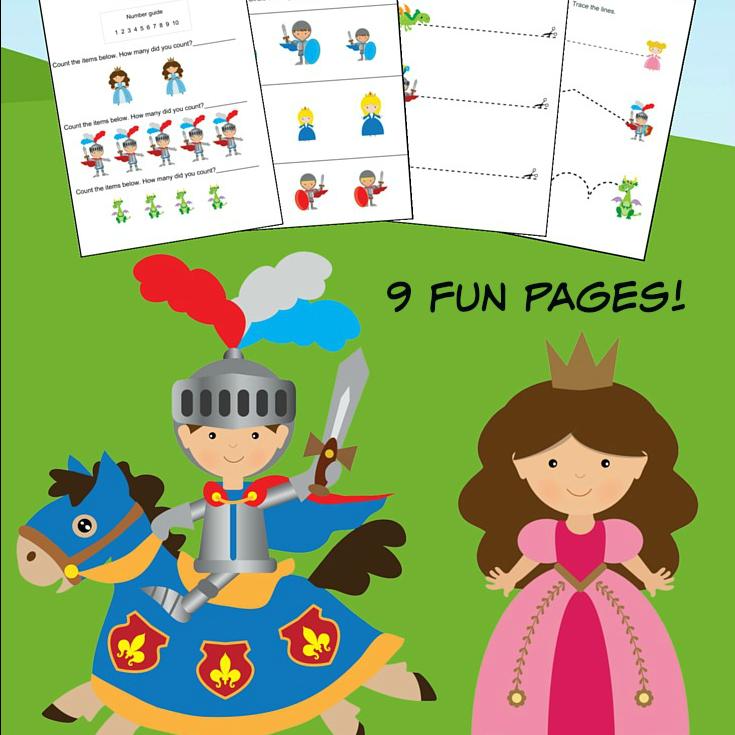 Knights and Dragons K-1st Grade Worksheets