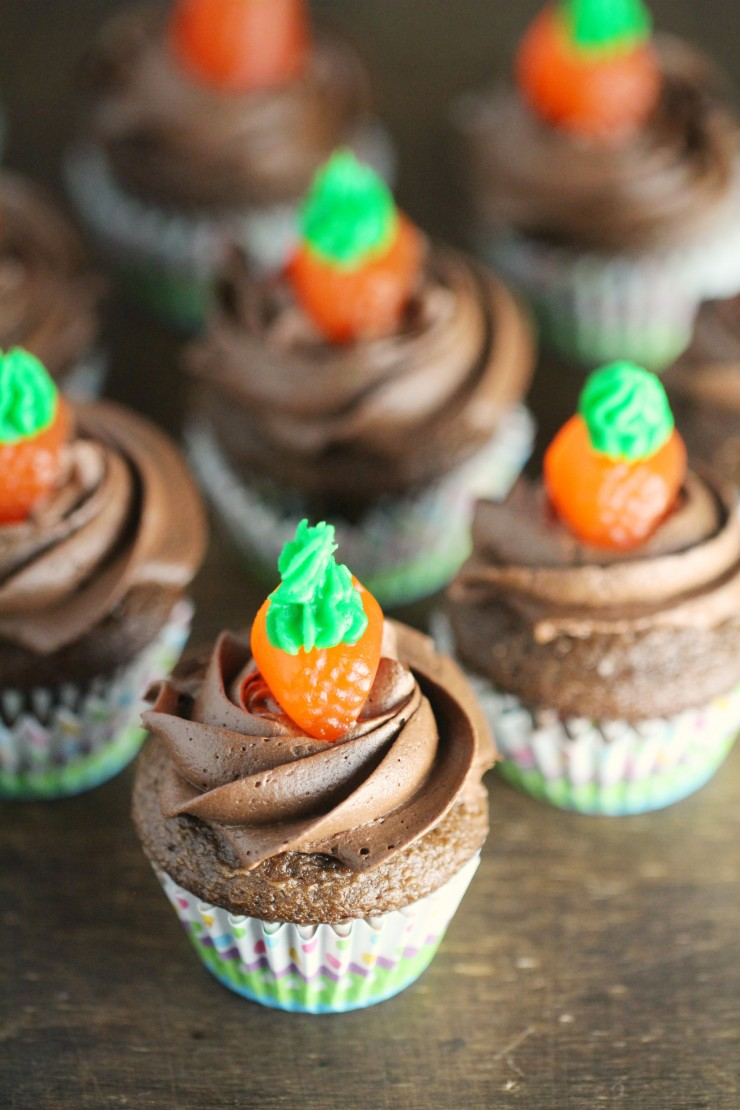 Spring is just about here, along with Easter, and what better way to celebrate both than with adorable mini Carrots & Dirt Cupcakes.
