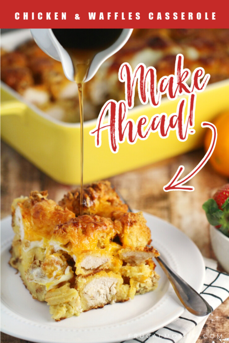 This Chicken and Waffles Casserole features hand breaded, oven fried chicken and waffles layered together and baked for an amazing breakfast recipe your whole family will love!