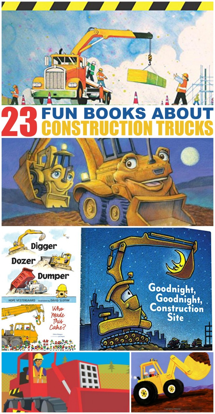 A great list of 23 books featuring Construction Trucks for kids ages 4-7 years old - these are books for boys and girls to enjoy at reading time!