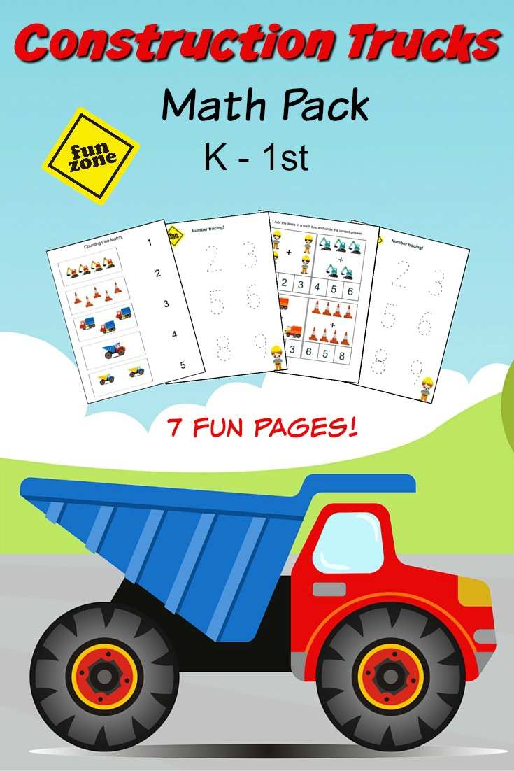 Construction Trucks Math Pack K-1st Grade Worksheets PLUS a great list of books featuring Construction Trucks for kids ages 4-7 years old.