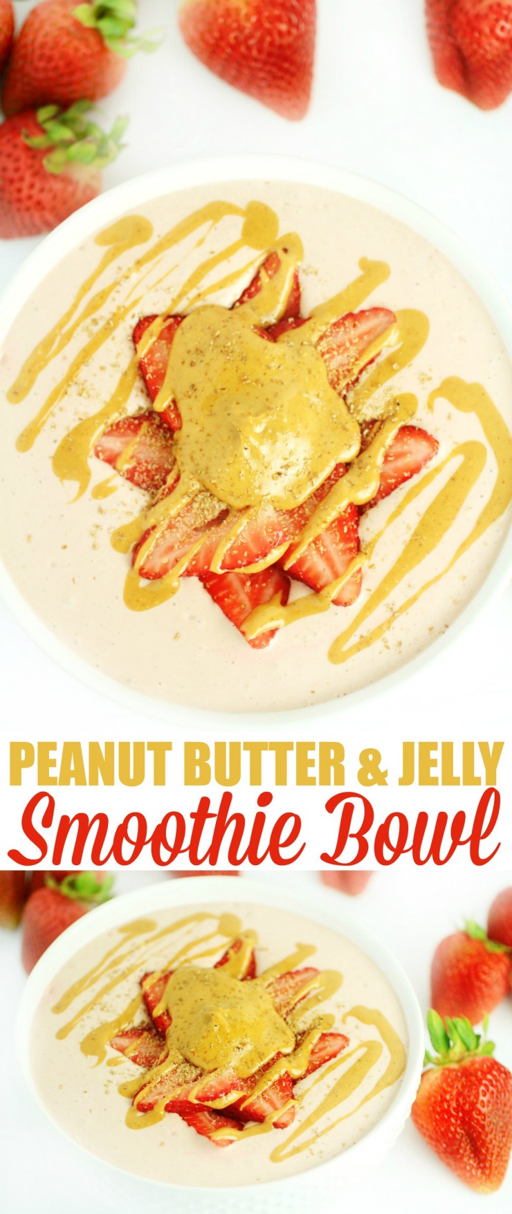 This Peanut Butter and Jelly Smoothie Bowl recipe is a healthy breakfast and a fun twist on a peanut butter and jelly sandwich.