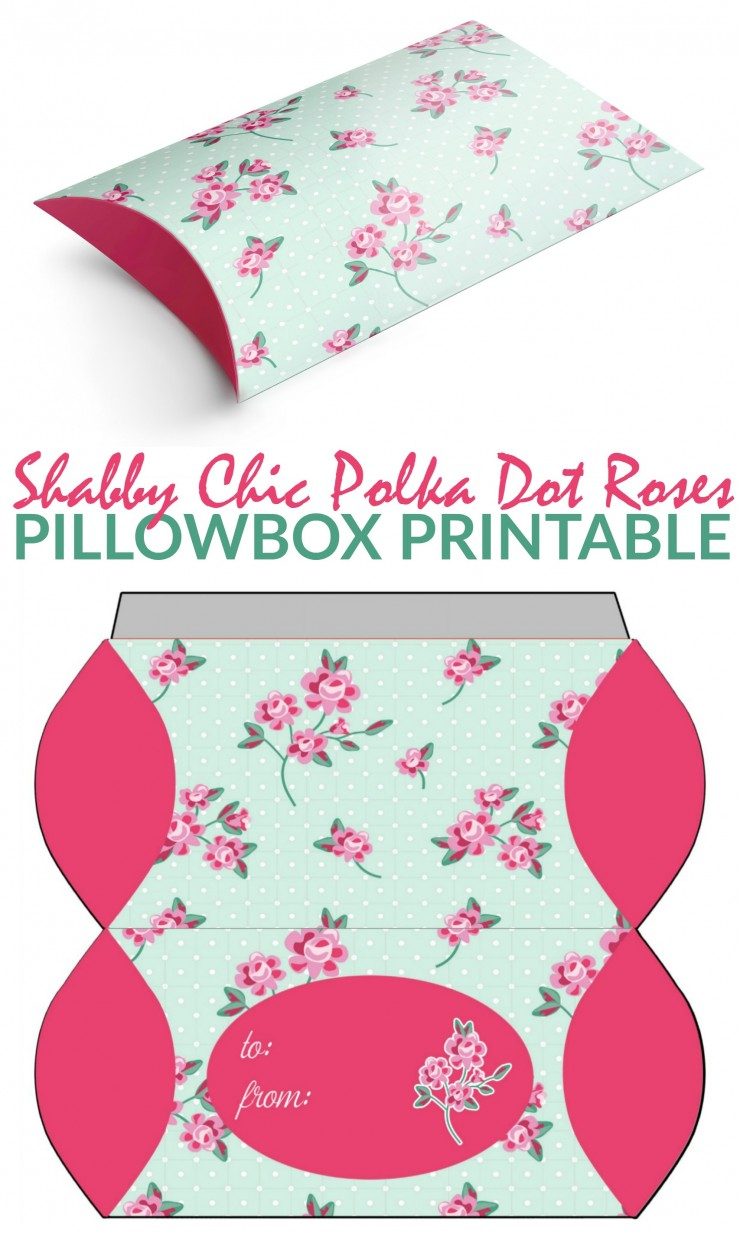 This Free Printable Shabby Chic Polka Dot Roses Pillowbox Template is a pretty way to wrap up small gifts and gift cards.