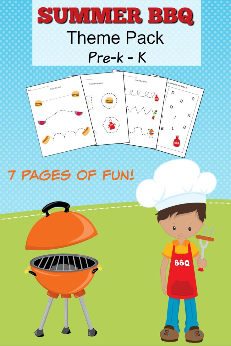 Summer BBQ Theme Pack Worksheets for Pr-K to Kindergarten - Frugal Mom ...