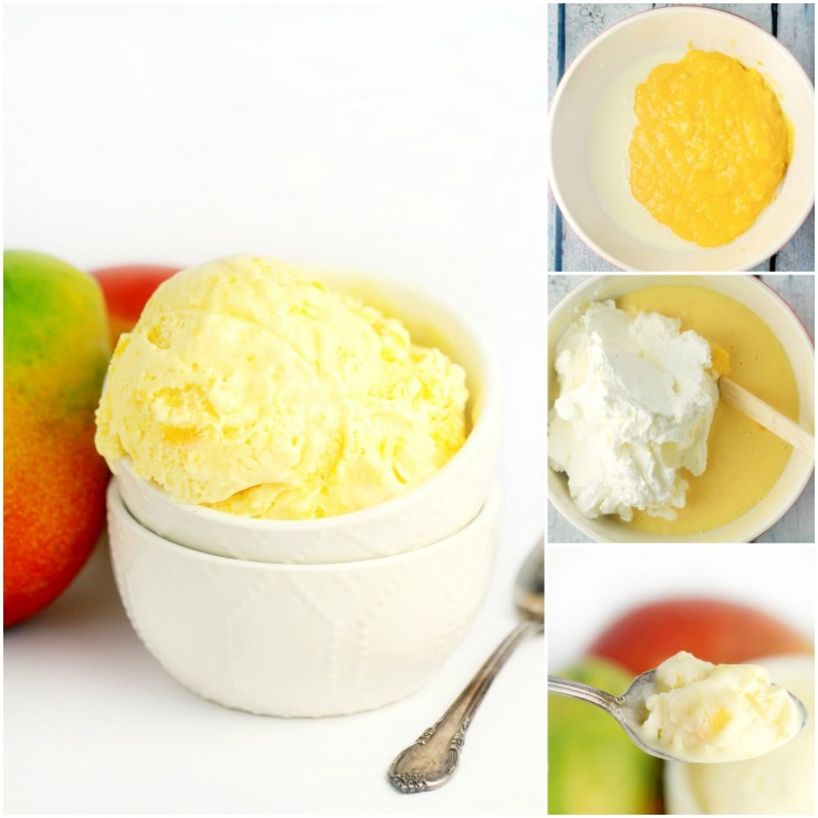 This No-Churn Mango Ice Cream has all the sweet fragrant tropical flavour of mango in a creamy, sweet homemade ice cream. You won't believe how easy this ice cream recipe is – no machine needed!