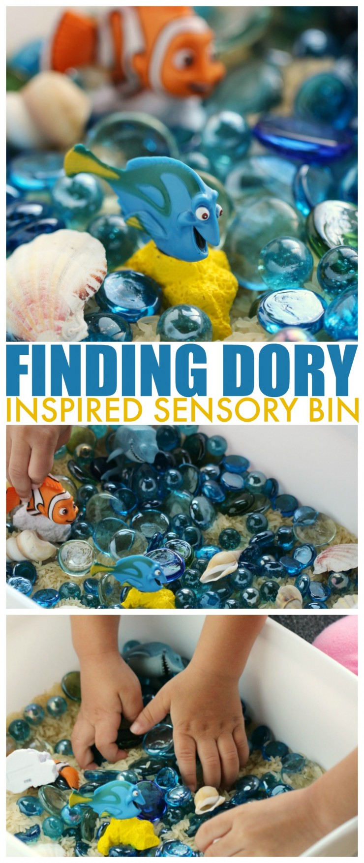 This Finding Dory Inspired Sensory Bin is the perfect kids activity for engaging little Finding Nemo fans this summer. Let your kids explore the ocean habitat with a little imaginative play.