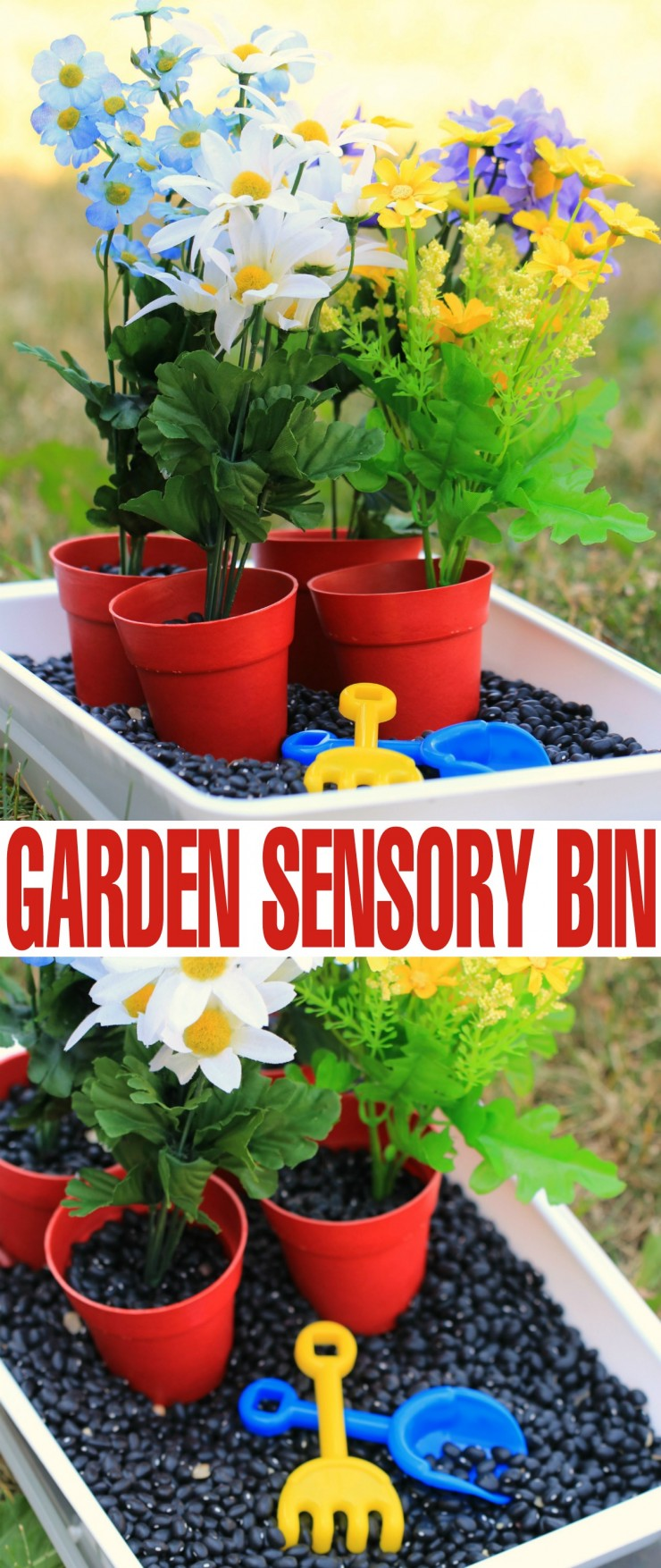 Gardening sensory bin frugal mom eh for Gardening tools for 6 year old