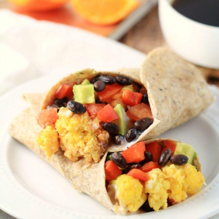 Black Bean & Avocado Breakfast Burritos