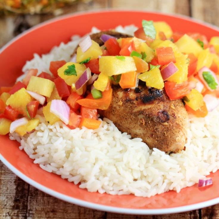 Jerk Chicken with Sweet & Spicy Pineapple Salsa