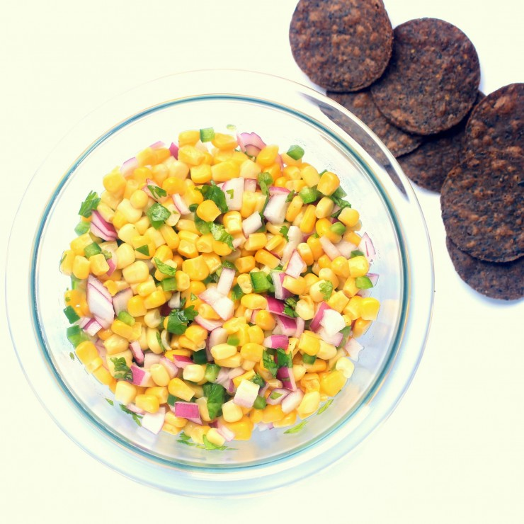 This easy corn salsa is a party staple - serve with tortilla chips or with tacos as a delicious condiment.