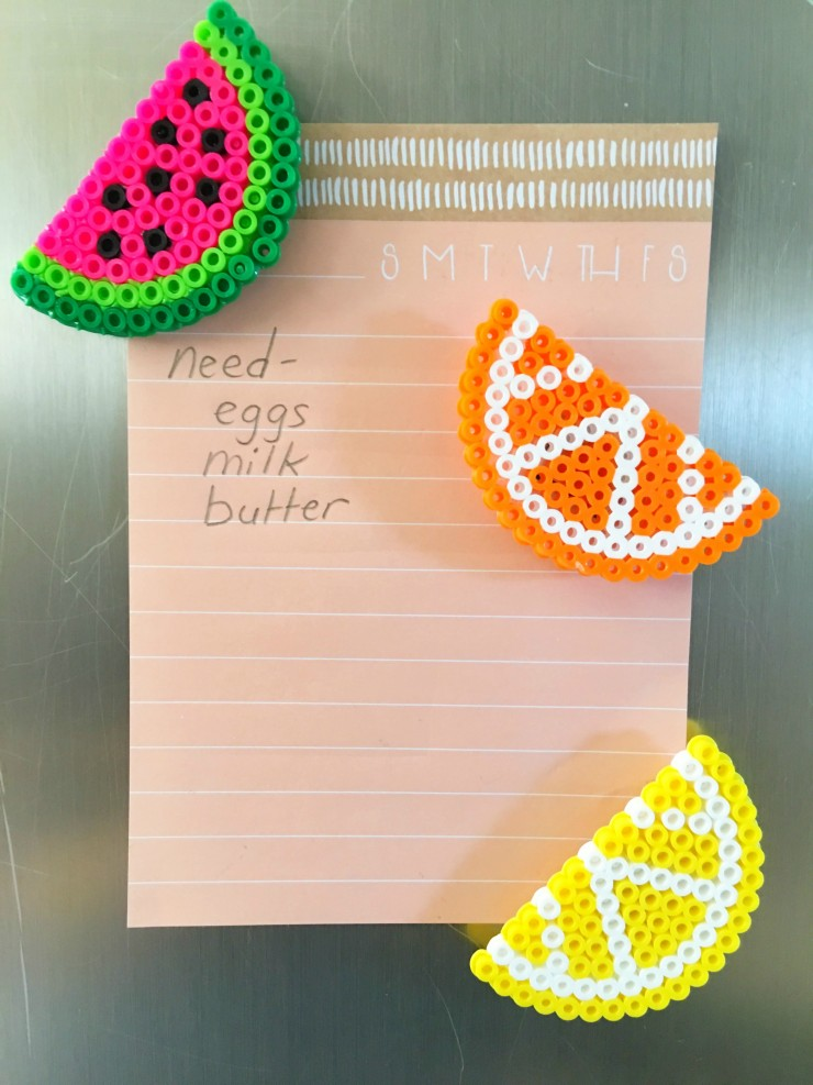 Learn how to make fruit perler bead magnets with this easy tutorial and free templates. This project is such a cute perler bead idea!
