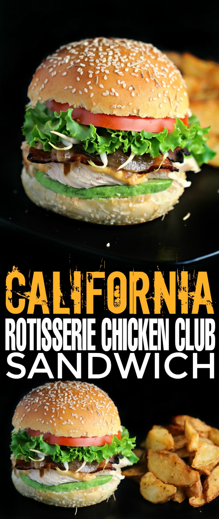 This California Rotisserie Chicken Club Sandwich makes use of leftover chicken paired with applewood smoked bacon, avocado, caramelised onions and more! Great Lunch idea!