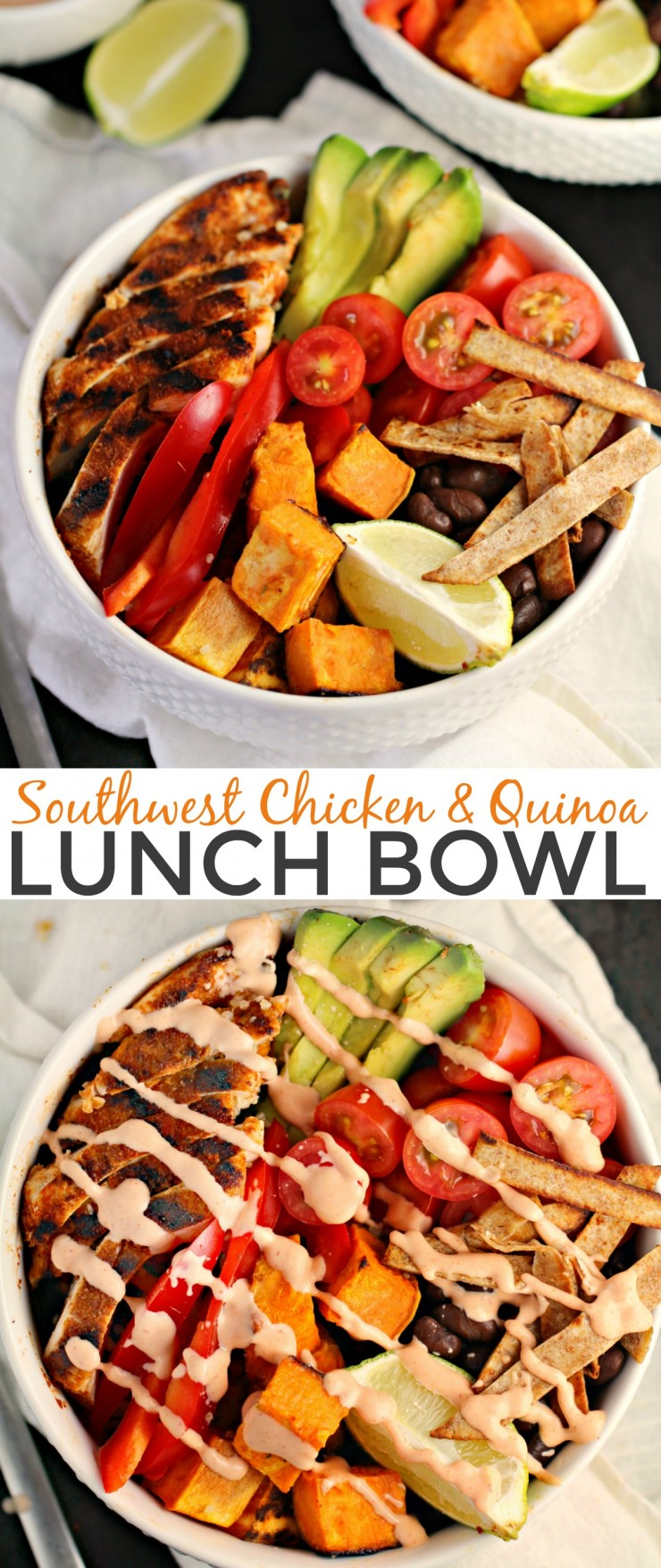 This Southwest Chicken and Quinoa Lunch Bowl is a delicious, and spicy lunch that is so satisfying and full of fresh flavours.