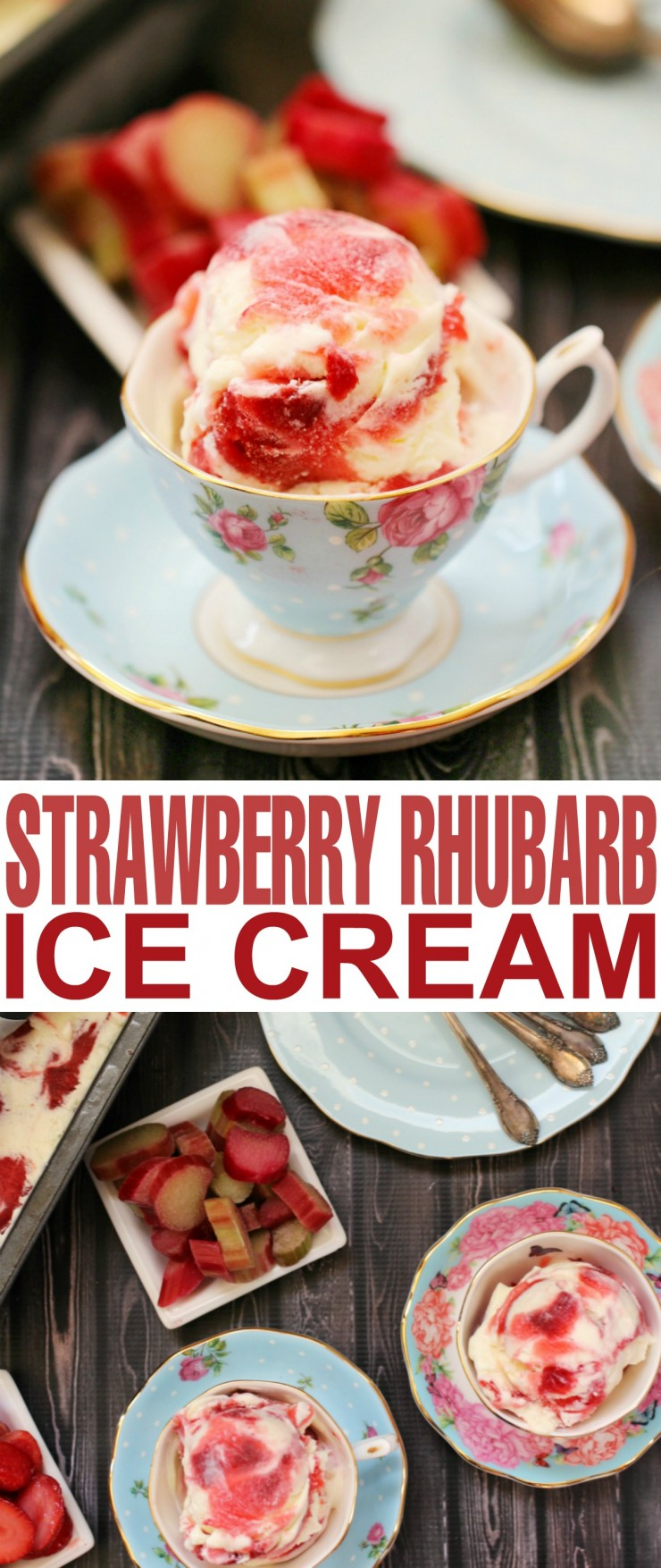 This creamy and decadent strawberry rhubarb ice cream is filled with bright bursts of fresh summer fruit. Satisfy your sweet tooth and stay cool with this incredible dessert.