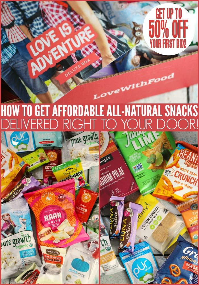 How to get affordable, delicious and all-natural snacks delivered right to your door with a Love with Food Subscription box! Gluten-Free subsricption box available too! Get up to 50% off your first box and for a limited time pay only $3.99 for international shipping (shipping FREE in the USA)