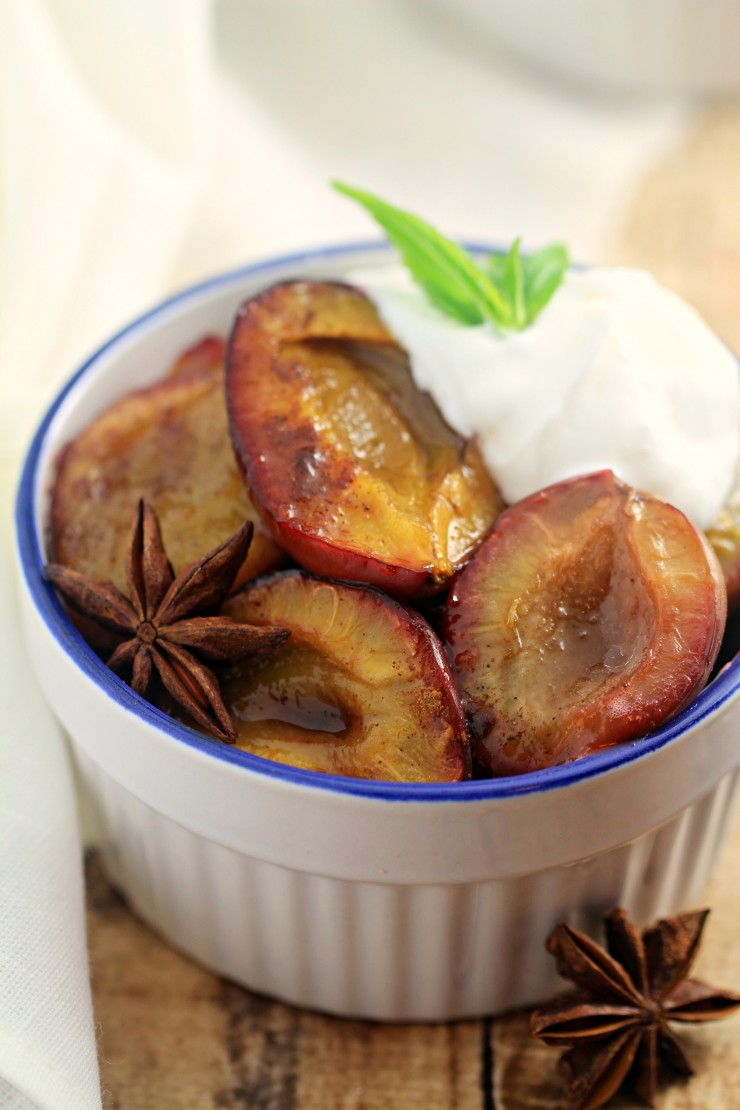 Spiced roasted plums are a simple but flavourful late summer dessert. The plums soften into tender sweetness, while the spices help to make this dish warm and fragrant. Perfect for serving with Greek yogurt for a healthy treat, or Crème fraiche for a sinful dessert.