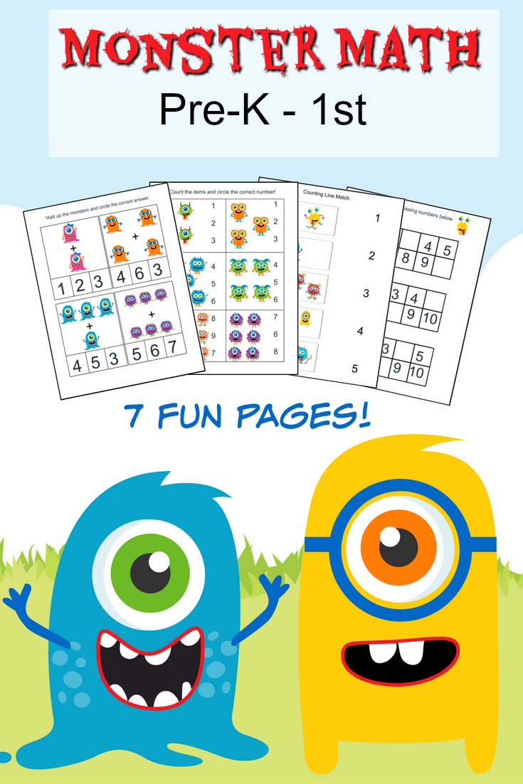 Monster Math Pack For Pre K To 1st Grade Frugal Mom Eh