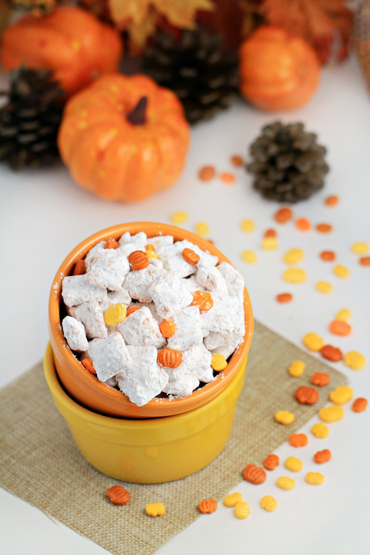 This Pumpkin Spice Muddy Buddies recipe is a fun autumn treat full of pumpkin spice flavor! This is a perfect snack for all of you out there with a pumpkin spice obsession!