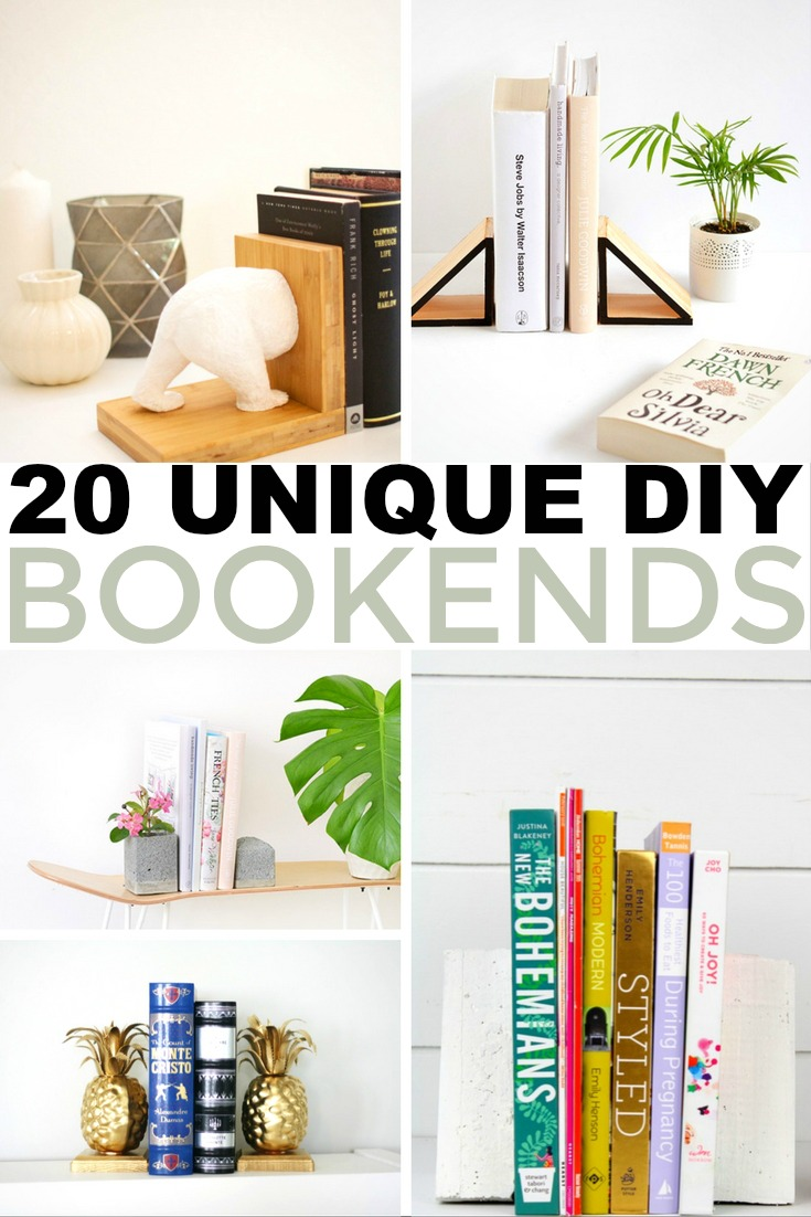 I'd like to share with you my favourite ideas for DIY bookends that will keep your books upright and will make a great impact on the look and feel of your bookshelves.