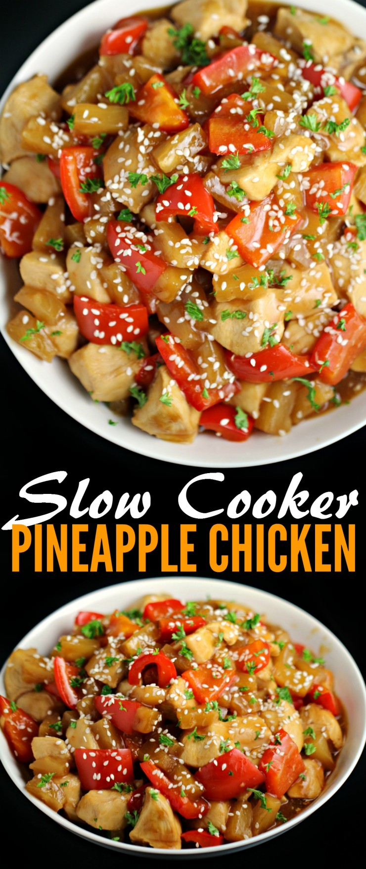 Make sweet and tangy pineapple chicken right in your slow cooker. Juicy pinapples, tender chicken and crisp red pepper come together for this flavourful crock pot dinner.