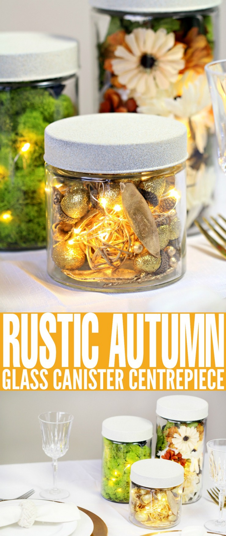 If you're planning on holding a dinner party this autumn then this Rustic Autumn Glass Canister Centrepiece is the perfect way to embrace the changing seasons and celebrate the natural beauty of fall.