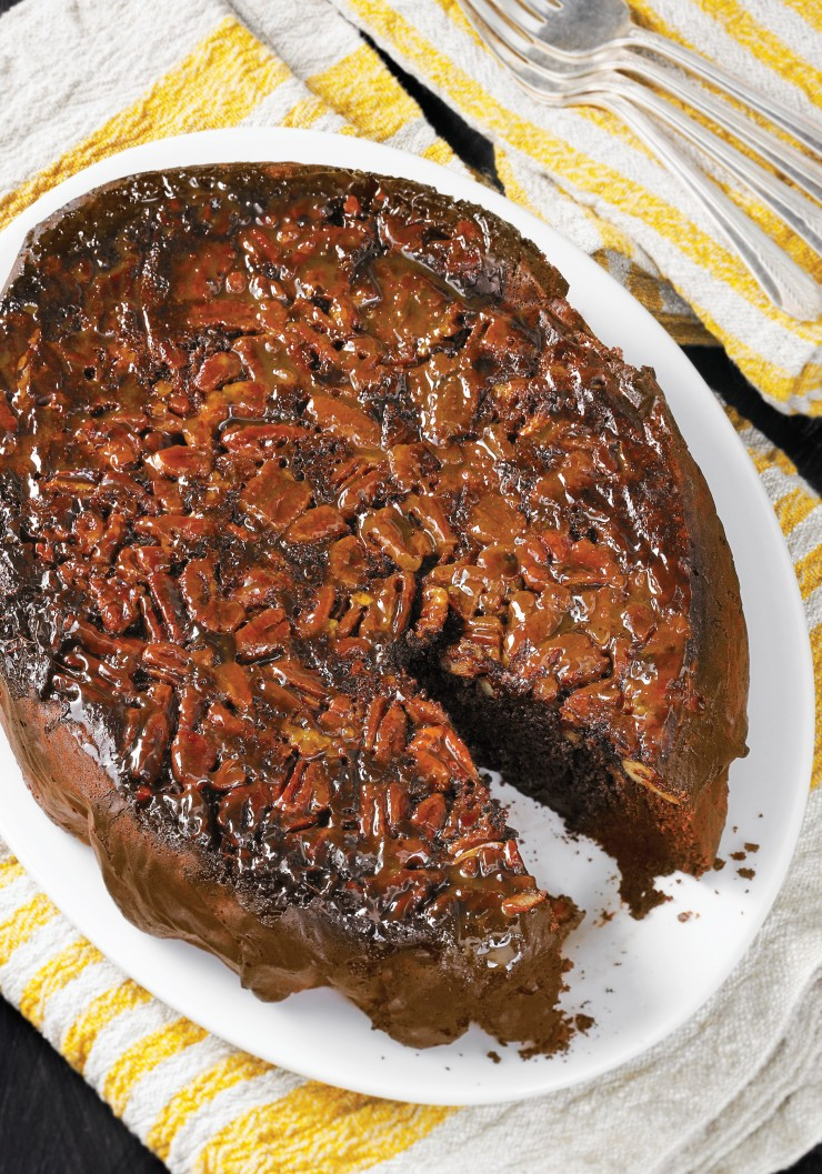 Slow-Cooker Chocolate Caramel Pecan Upside-Down Cake. The edges of the pecan layer will get chewy, the center stays softer. This cake will make a lot of people happy!
