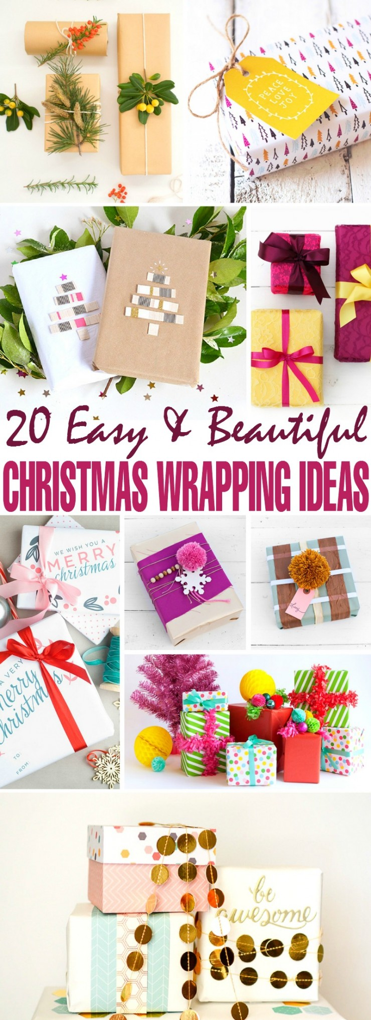 I came across 20 unique DIY Christmas gift wrapping ideas that will add a custom festive flair to all your Christmas gifts.