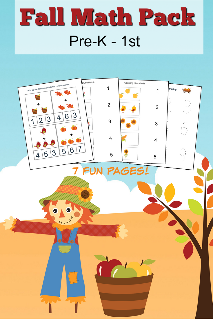 Fall Free Printable Math Worksheets for Pre-K to 1st Grade PLUS a great list of books featuring a fall theme for kids ages 3-7 years old.