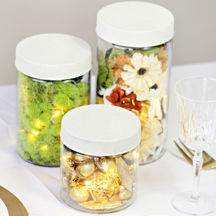 Rustic Autumn Glass Canister Centrepiece