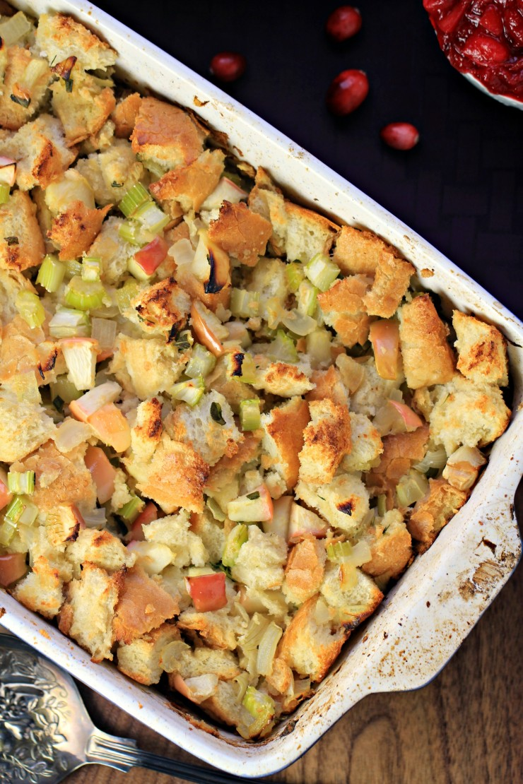 Apple & Sage Stuffing for Thanksgiving or Christmas dinner. The introduction of sweet apples to this crisp on the top stuffing creates a delicious sweet-savory balance to a classic stuffing recipe enhanced with sage.