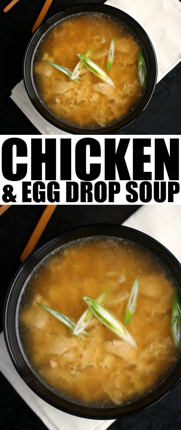 This easy Chicken & Egg Drop Soup will taste just like your favourite Chinese take-out, only better! Soothing and comforting with silky egg ribbons, nourishing broth and delicious chicken pieces.