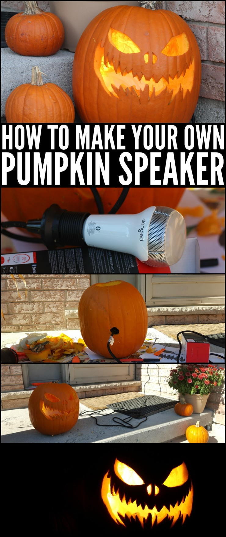 Turn a pumpkin into a spooky pumpkin speaker with this super easy to follow Halloween tutorial. You'll be scaring off ghosts and ghouls in no time with this Halloween decor idea!