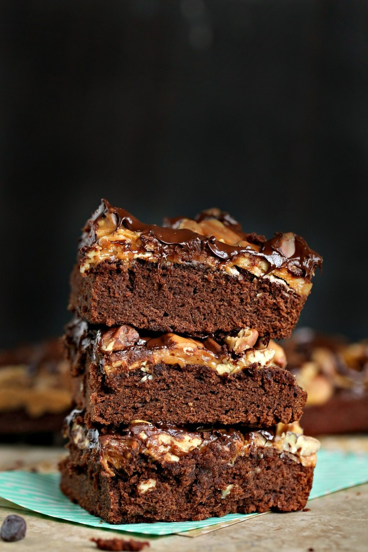 A super decadent dessert, these Turtle Brownies are layered with caramel sauce, pecans and finished off with a drizzle of melted chocolate.  Do brownies really get any better than this?