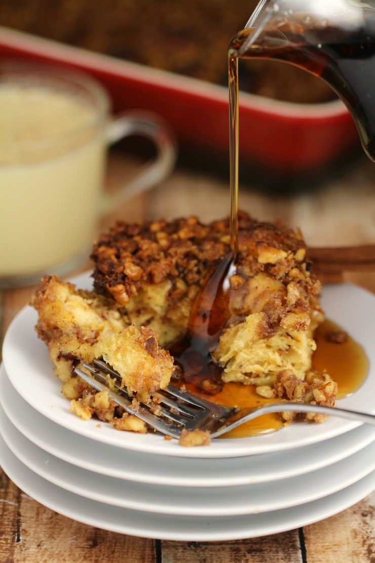 This Eggnog Cinnamon Roll French Toast Casserole with a Brown Sugar Walnut Crumble makes for a fabulous Christmas Brunch or a nice family Sunday breakfast in the winter.  Delicious and richly flavoured with eggnog and warming spices, it is topped with a satisfyingly crunchy layer of Brown Sugar Walnut Crumble.