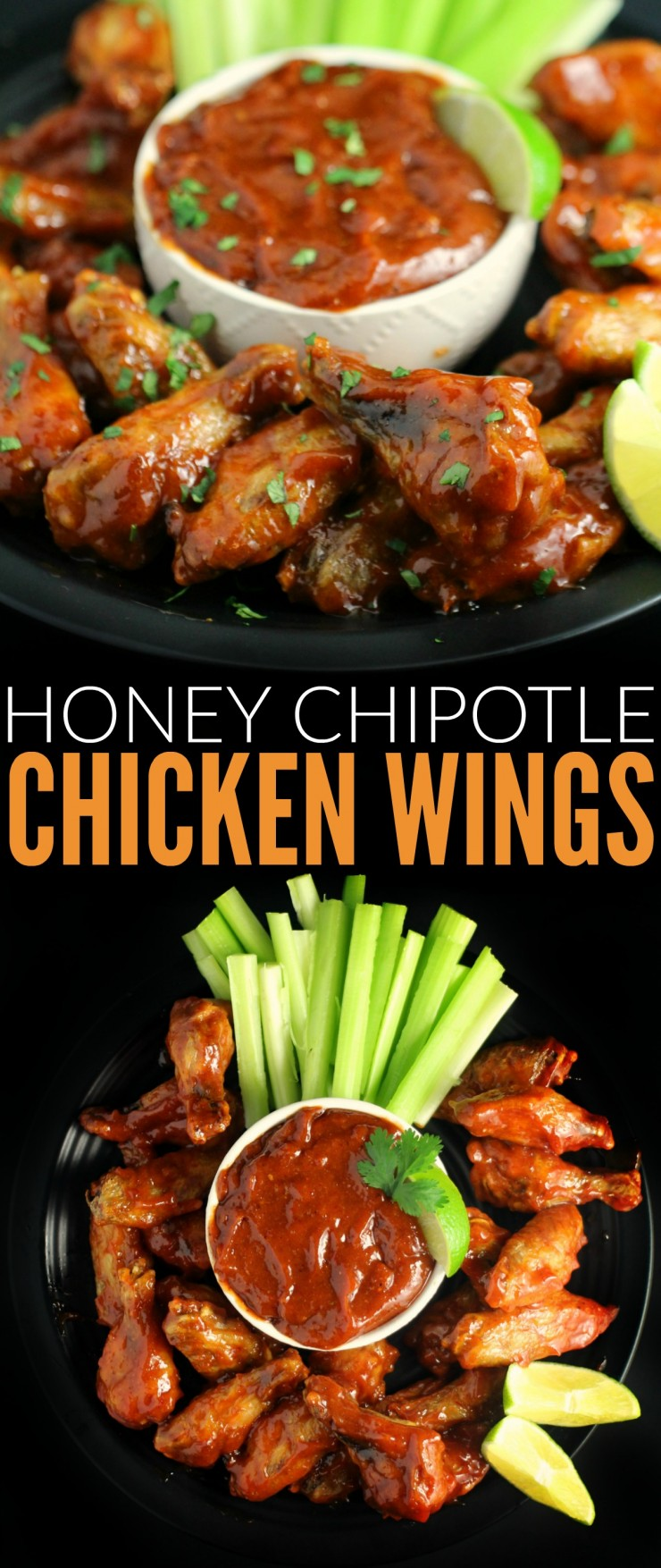These Honey Chipotle Chicken Wings are a little bit sweet with a touch of sweet. They are guaranteed to fly off plate at any party you serve this delicious appetizer at.
