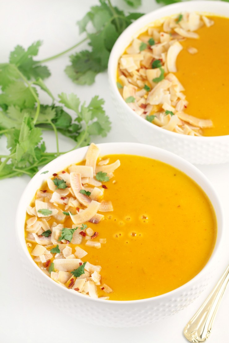 A curried, creamy butternut squash soup made with Thai inspired ingredients like ginger, coconut and lemongrass. This Thai Coconut Butternut Squash Soup then gets topped off with toasted coconut and cilantro for an amazing finish.