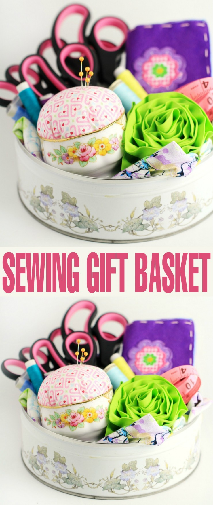 This DIY sewing gift basket includes items the recipient will enjoy using for their sewing projects. It's the perfect gift for anyone who loves to sew, or is learning how to!.