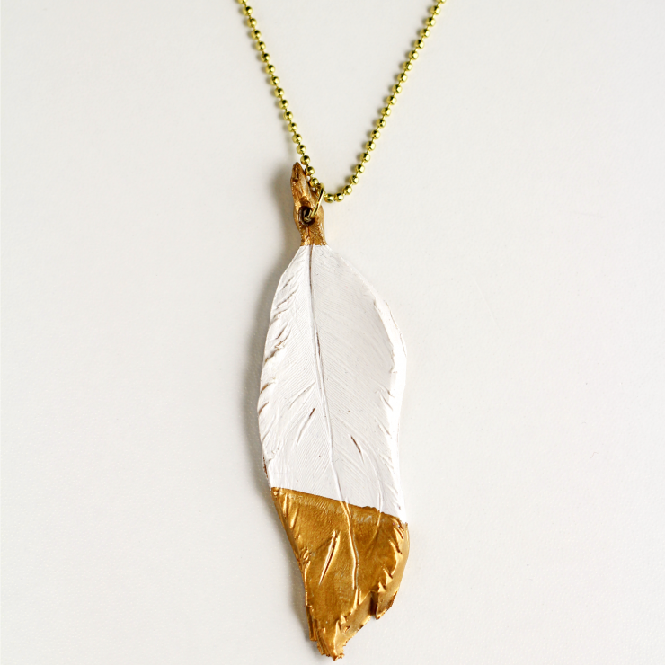 Gilded Feather Pendant