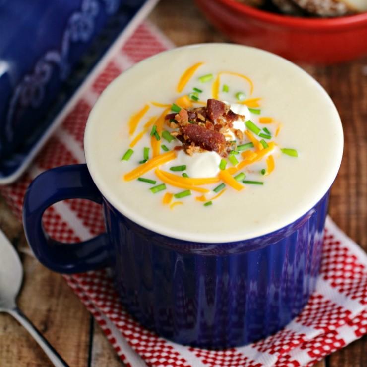 Microwave Loaded Potato Soup in a Mug