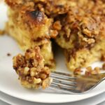 Eggnog Cinnamon Roll French Toast Casserole with a Brown Sugar Walnut Crumble