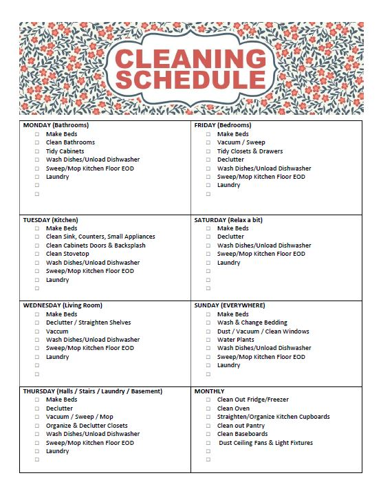 Free Printable Cleaning Schedule  Frugal Mom Eh